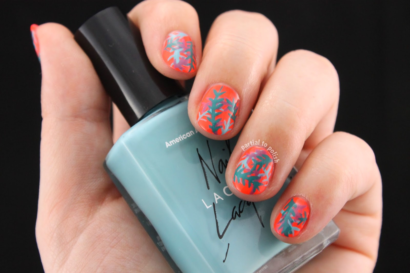 Multicoloured Fern Fronds For Nail Crazy In April Featuring American Apparel Polishes