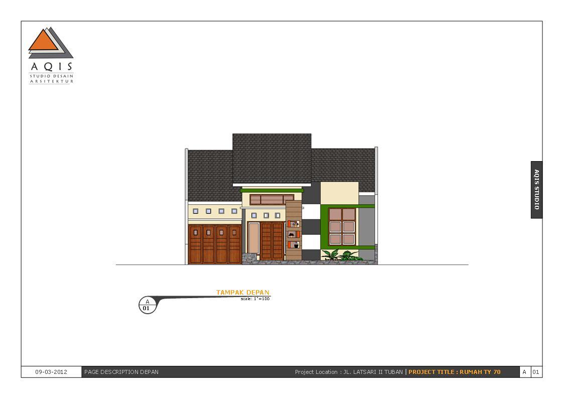 Aqis Studio   Jasa Desain Rumah Online   Jasa Arsitek Online: Contoh Gambar Kerja Rumah Type 70
