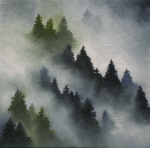 """Dawn Waters Baker: """"Mountain Fog"""" Oil Painting"""
