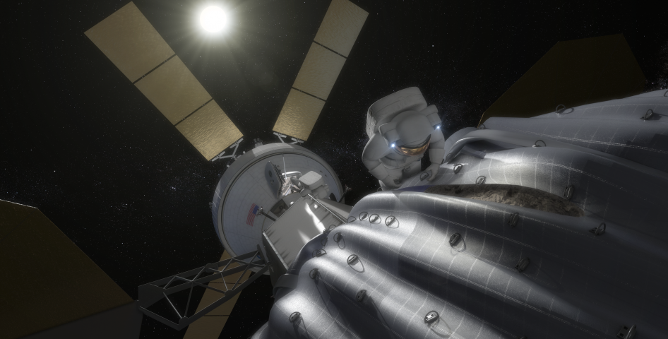 This concept image shows an astronaut preparing to take samples from the captured asteroid after it has been relocated to a stable orbit in the Earth-moon system. Hundreds of rings are affixed to the asteroid capture bag, helping the astronaut carefully navigate the surface. Credit: NASA
