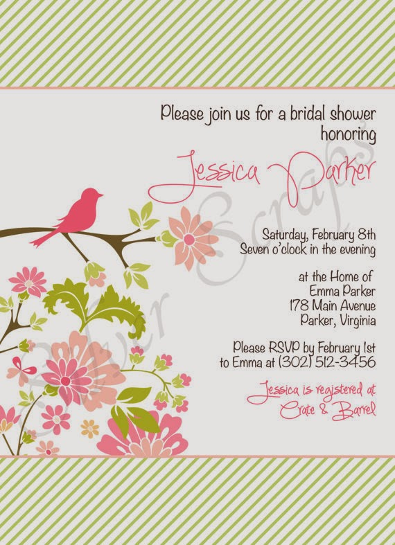 pink and green bridal baby shower bridesmaids luncheon invitation with dahlia flowers floral shabby chic bird branch  little chick