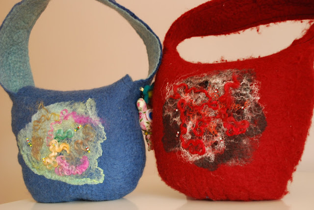 image of two felt bags