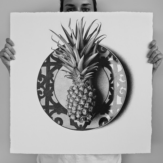 26-Pineapple-C-J-Hendry-Hyper-Realistic-Drawings-of-Food-www-designstack-co