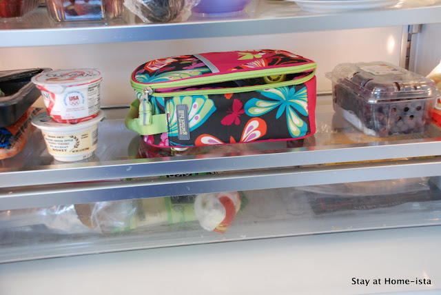 Storing a pre-made school lunch in the fridge the night before