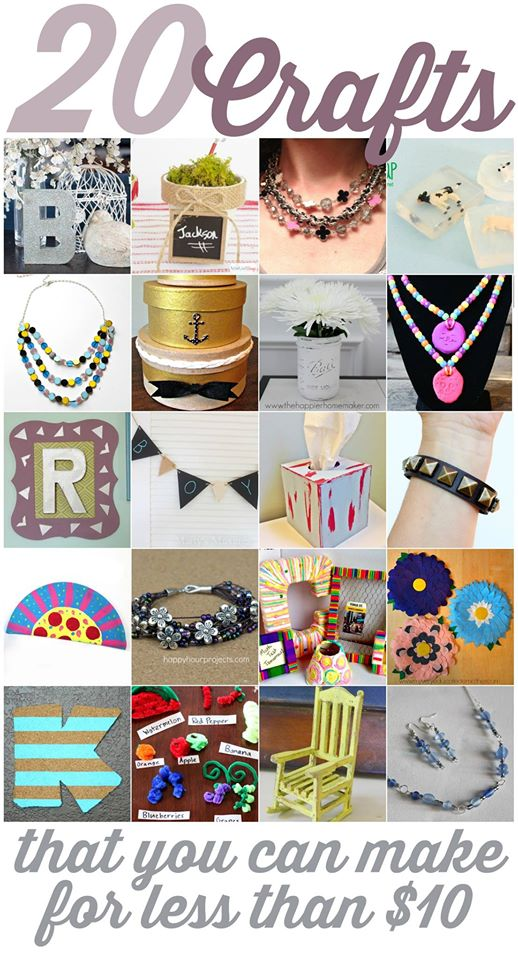 20 Crafts Under $10 Each -- get tons of ideas on the cheap!