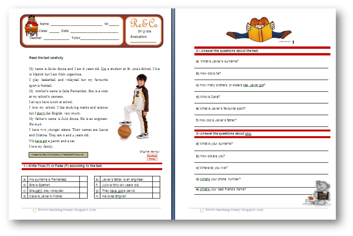 Teaching-Frenzy: Reading Comprehension Worksheet - 5th grade (5ºano)