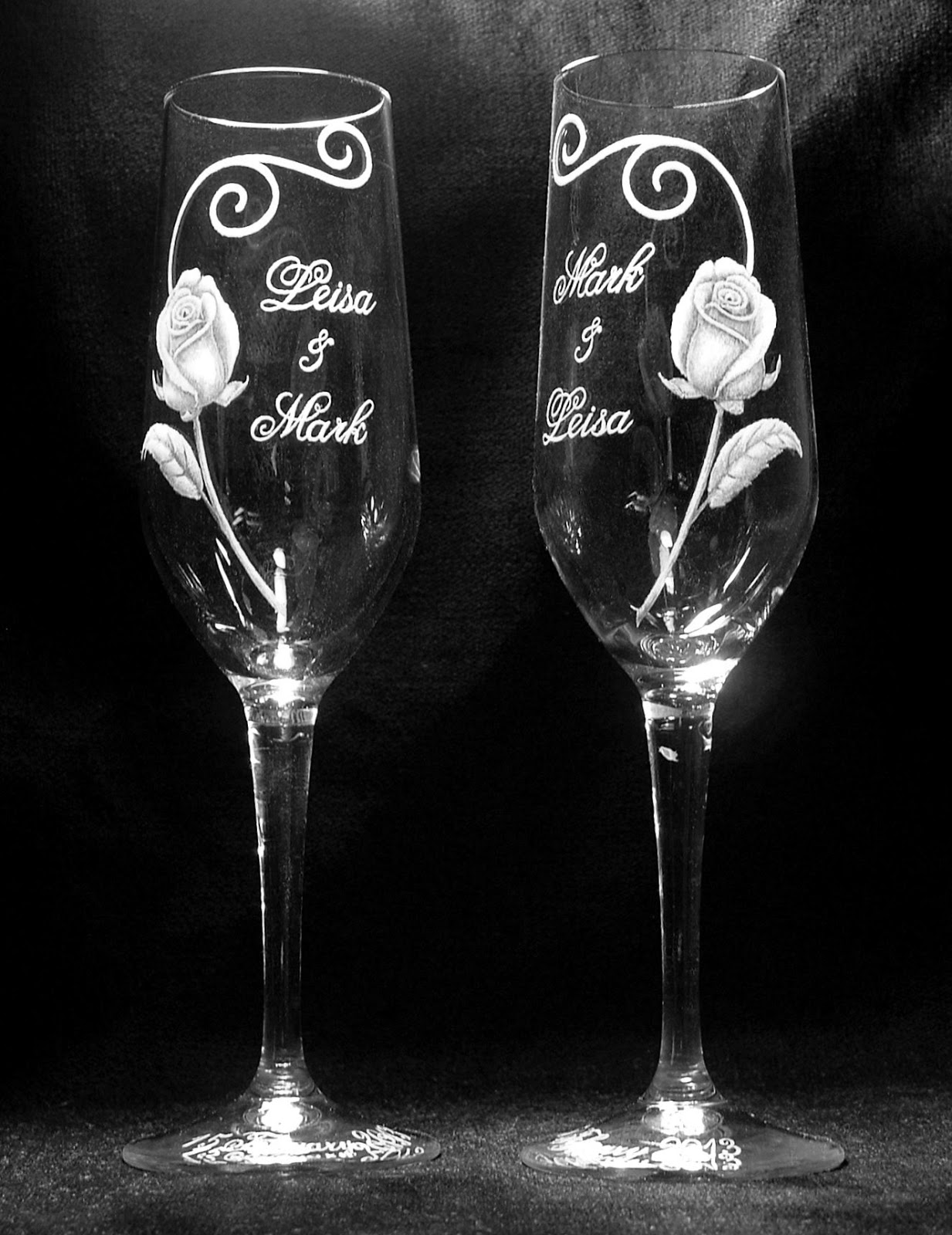 JeansArt Glass Engraving Lead Free Crystal Champagne Wedding Glasses