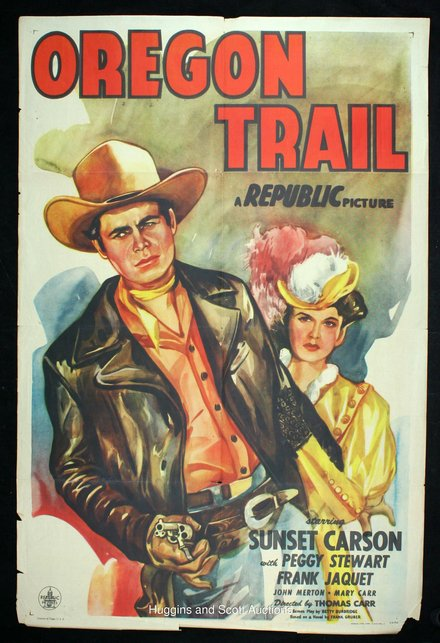 movies, theater, vintage, vintage posters, retro prints, classic posters, free download, graphic design, Oregon Trail, A Republic Picture - Vintage Movie Poster