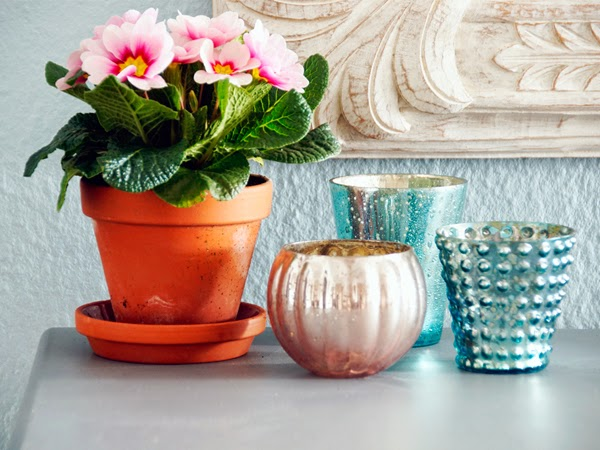 Dekoration mit Blumen, Primel, Blumendeko