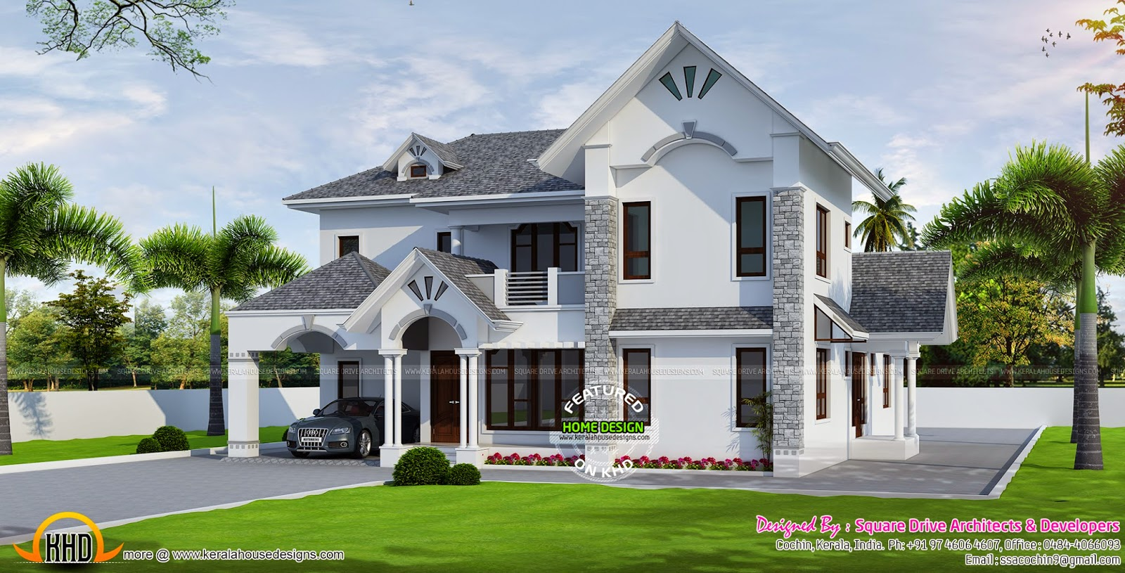 Beautiful european style modern house kerala home design for Beautiful contemporary house designs
