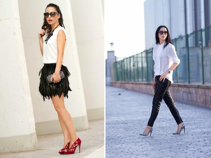 Resumen outfits Falda de Plumas y Pantalon de Cuero de Muubaa
