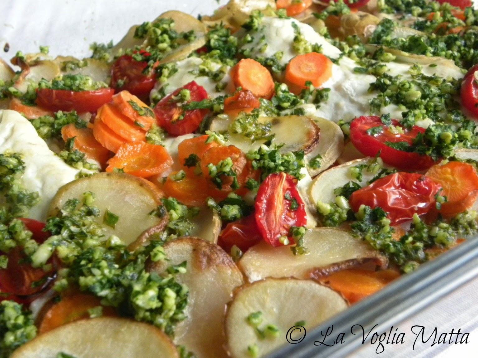 filetti di branzino al forno con verdure