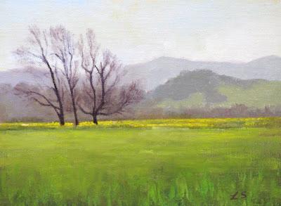 "Spring Greens - oil - 6x8""- Linda Schweitzer"