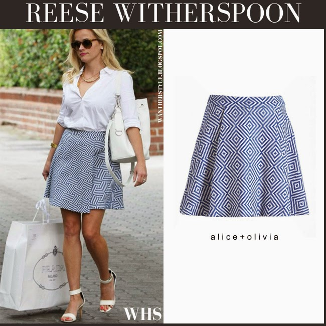 Reese Witherspoon in white shirt with blue and white print mini skirt Alice Olivia Vernon and white bag april 22 want her style spring chic fashion