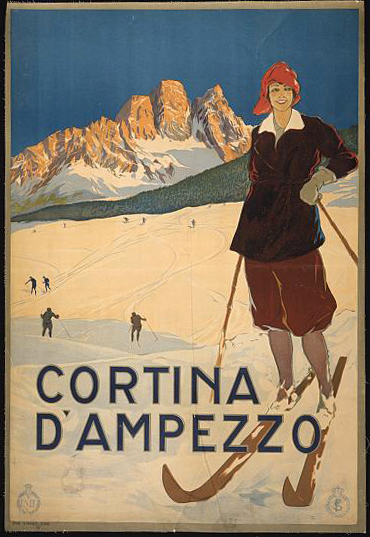 travel, travel posters, skiing, sports, italian poster, vintage, vintage posters, retro prints, classic posters, graphic design, free download, Cortina D'Ampezzo - Vintage Italian Travel Skiing Poster