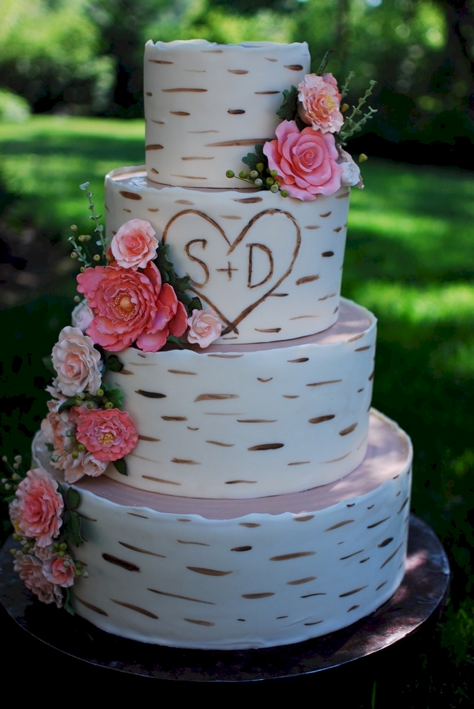 Birch Wood Grain Wedding Cake
