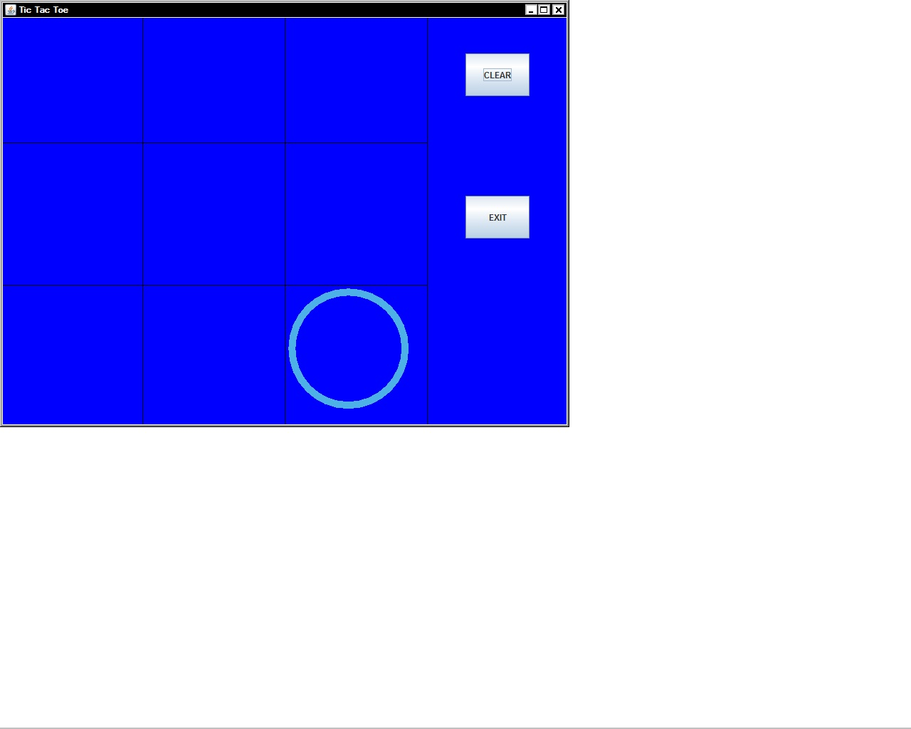 tic tac toe game frame java code output image