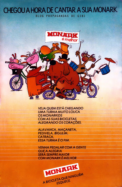 Propaganda das Bicicletas Monark veiculada nos principais gibis no começo dos anos 80.