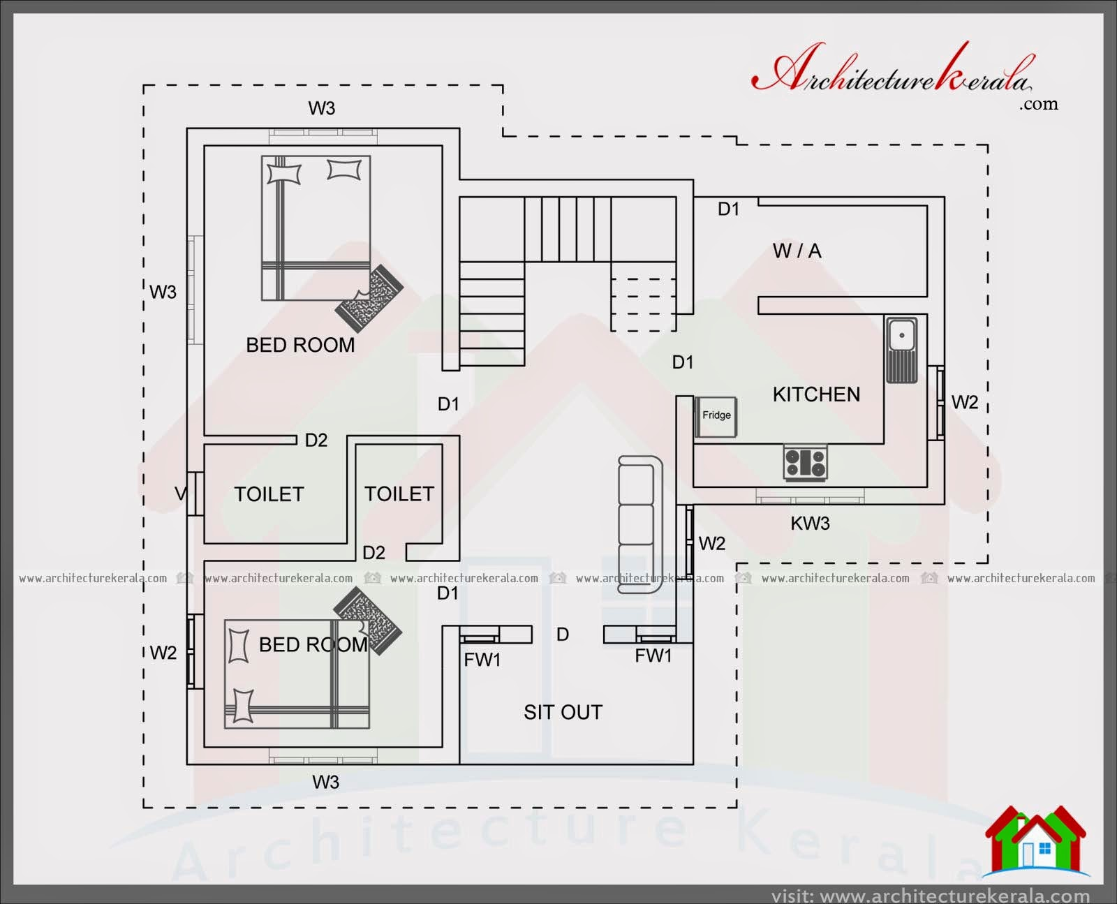 4 bedroom house plan in 1400 square feet architecture kerala for Kerala two bedroom house plans