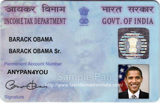 Permanent Account Number PAN Card Barack Obama