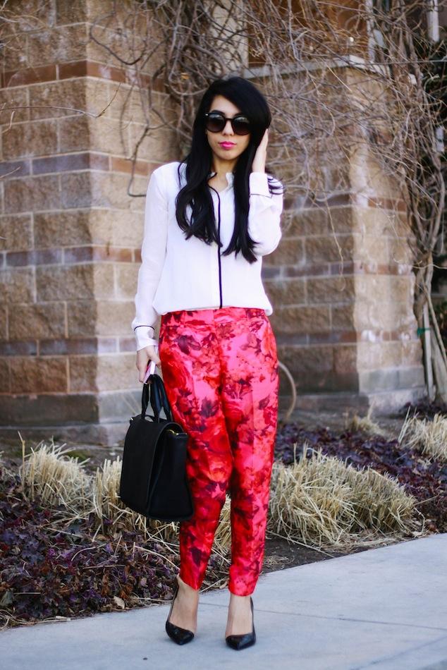 j.crew, j.crew fashion blog, fashion blog, trouser, floral pants, j.crew tipped shirt, zara heels, karen walker sunglasses, super duper,