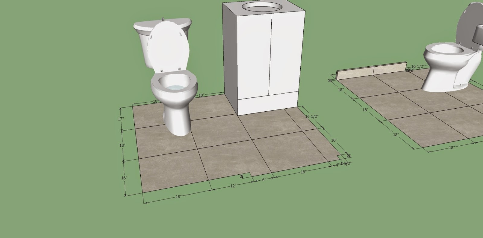 bathroom tile, google sketchup, drawing, measure