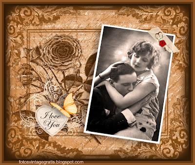 fondo vintage de San Valentin con foto antigua de pareja y flores