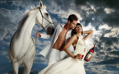 Romantic couple with white horse and campari cocktails