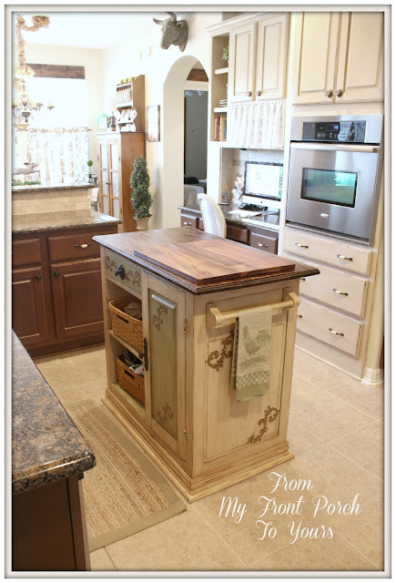 French Farmhouse Kitchen- Annie Sloan Chalk Painted Cabinets- Old Ochre- DIY Kitchen Island- French Country Kitchen