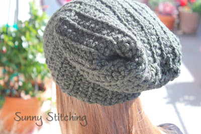 Ribbed Slouchy Hat Free Pattern : Sunny Stitching