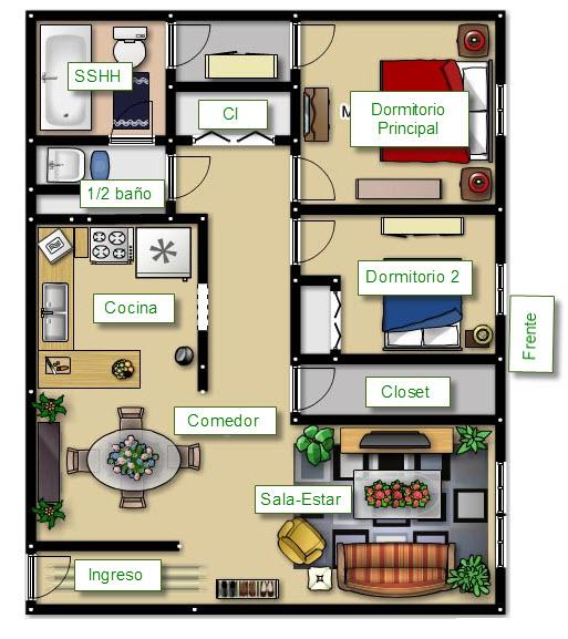 Plano de casa peque a con amplio frente construye hogar for Distribucion piso 70 metros