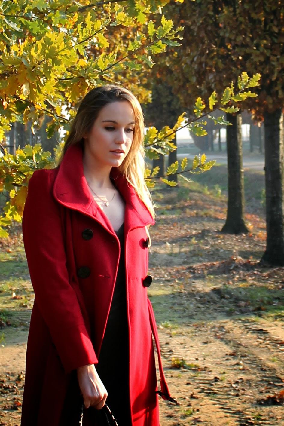tomato red coat