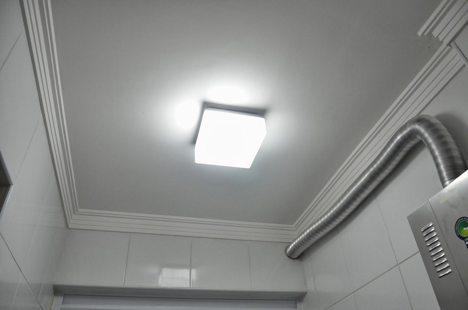 #57594F Plafon de 20cm x 20cm em acrílico leitoso para 2 lâmpadas E27 1642 Janela De Aluminio Lavanderia