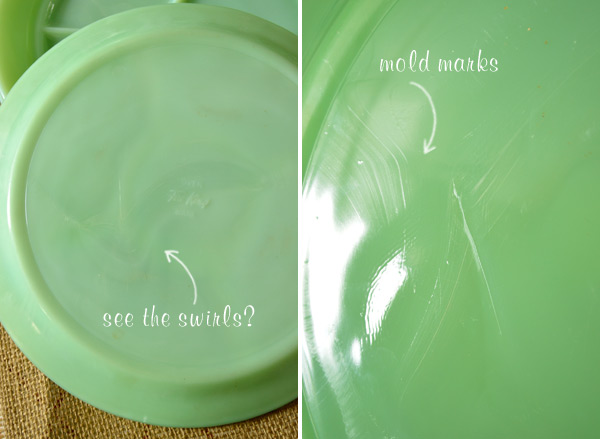... and there might be slight swirl-like patterns in some of the pieces like the one pictured below on one of the plates I picked up : jadeite dinnerware - pezcame.com