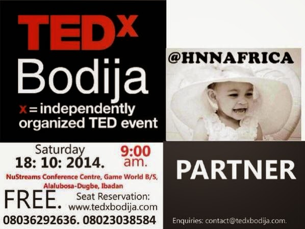 #HNNAfrica International Media Partner @TedXBodija Oct 18th 2014