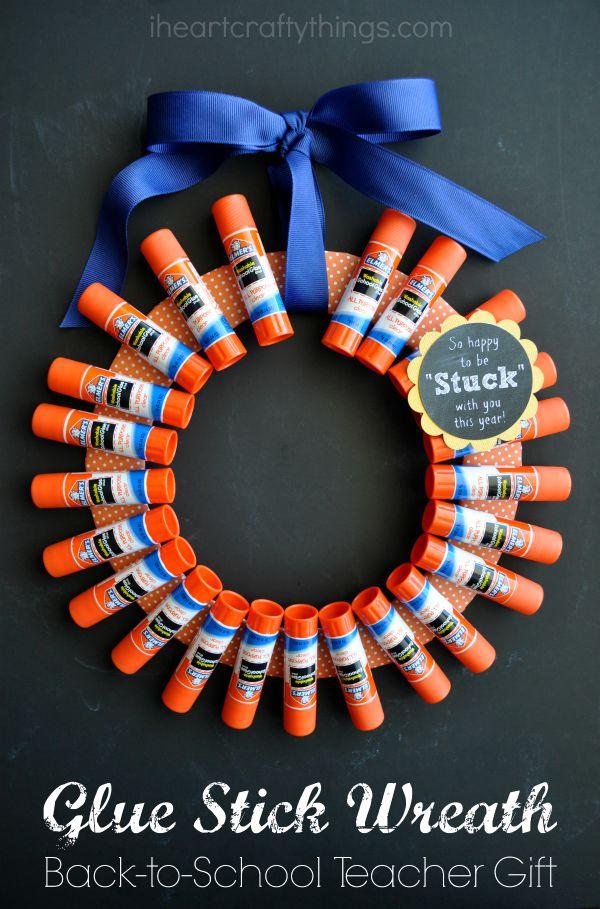 Back To School Teacher Gift Elmers Glue Stick Wreath