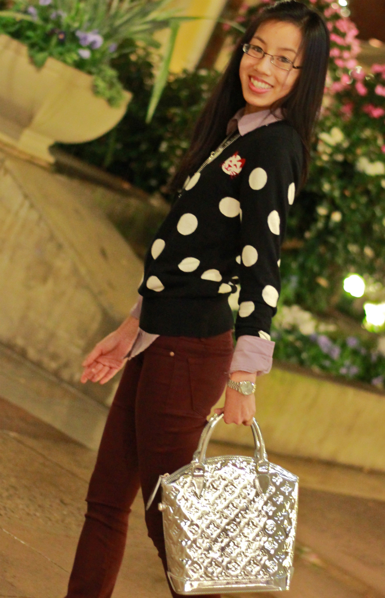 French Connection polka dot sweater layering purple colored denim Louis Vuitton miroir lockit designer flats