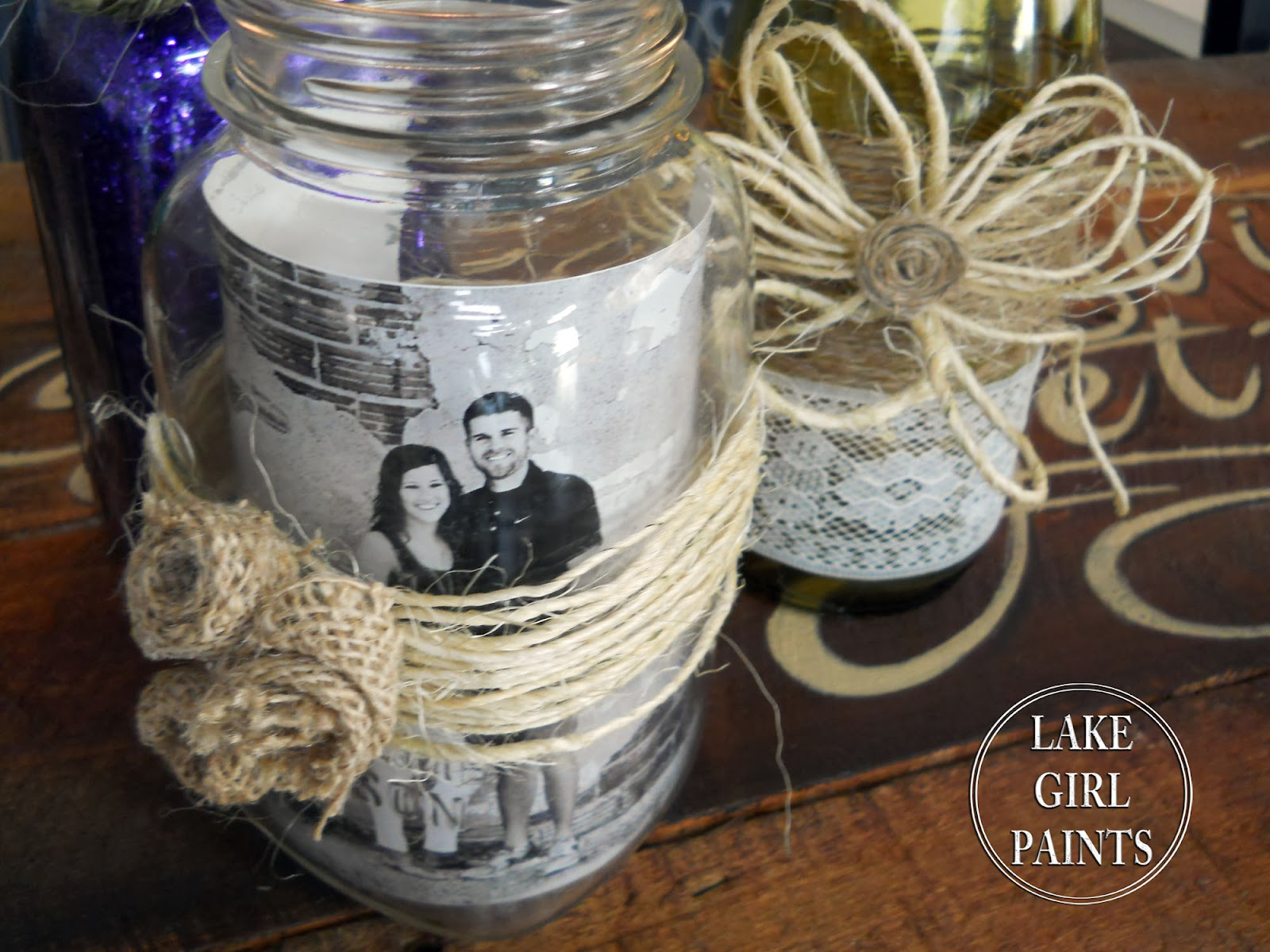 Lake girl paints mason jars and wine bottles burlap and for Decorating wine bottles with glitter