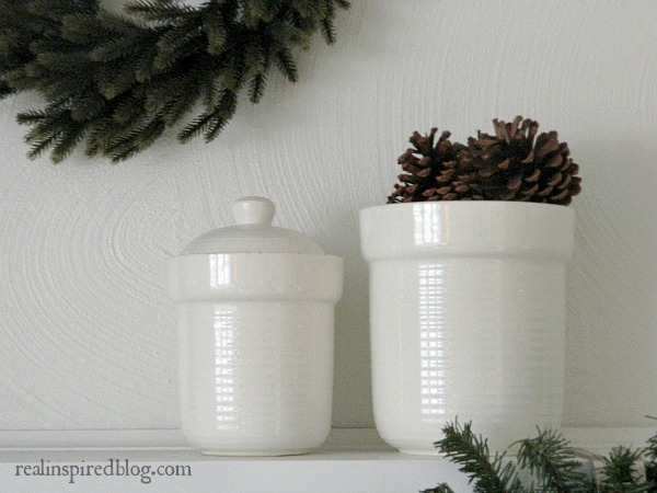 Rustic Green and neutral Christmas Home Tour 2015 with greenery, pinecones, white crocks