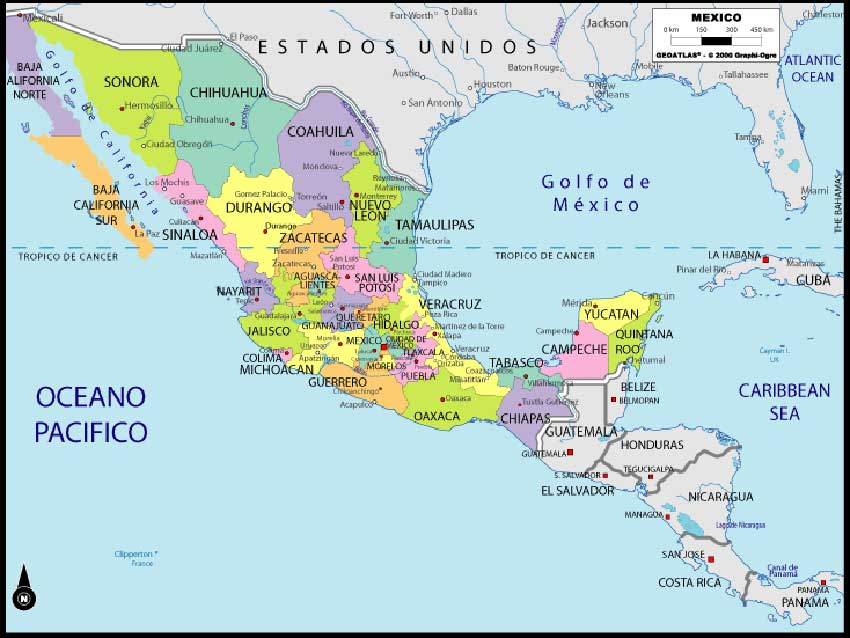 tropic of cancer mexico map