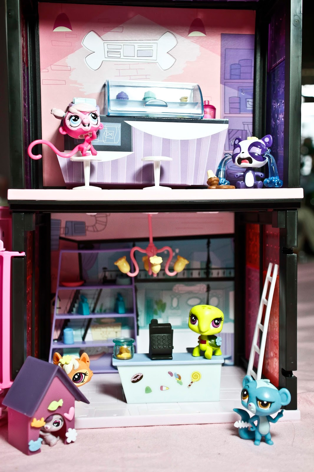 playing with a few littlest pet shop set together