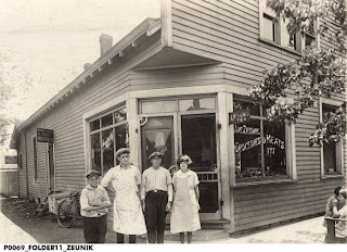 Some of my great-great aunts and uncles standing in front of my great-great grandfather's grocery store