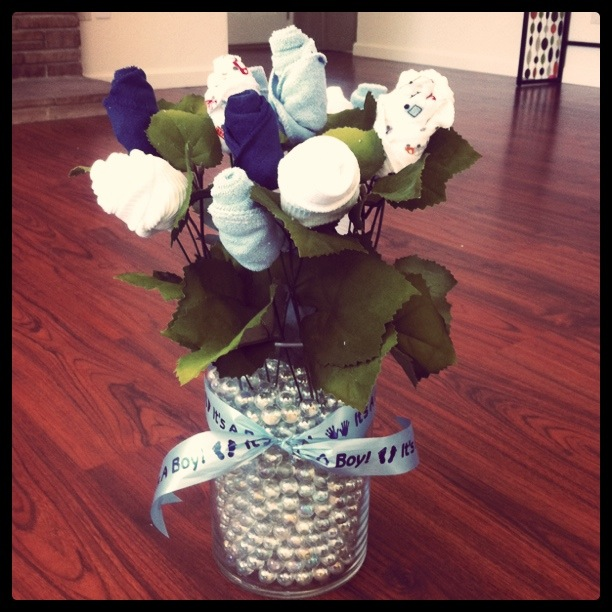 industrious justice: How: Baby Washcloths, Socks & Onesies Bouquet