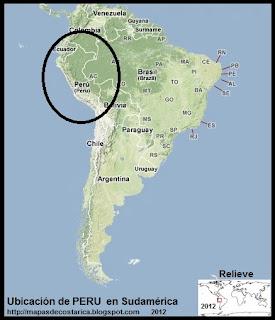 Relieve. Ubicación de PERU en Sudamérica