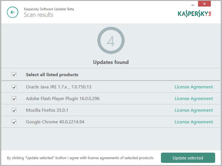 Kaspersky Software Updater risultato scansione