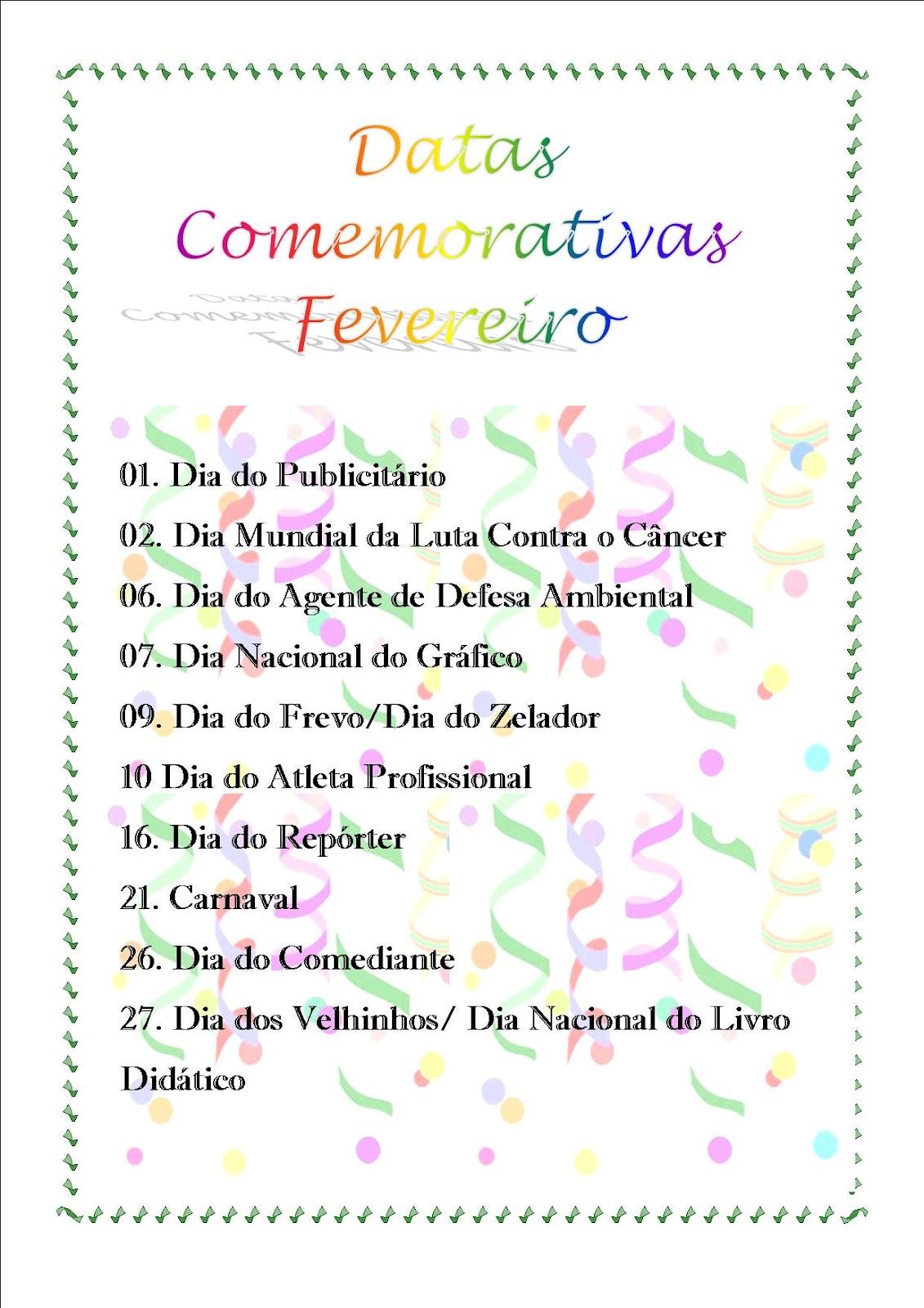 Datas Comemorativas De Fevereiro De 2015 New Calendar