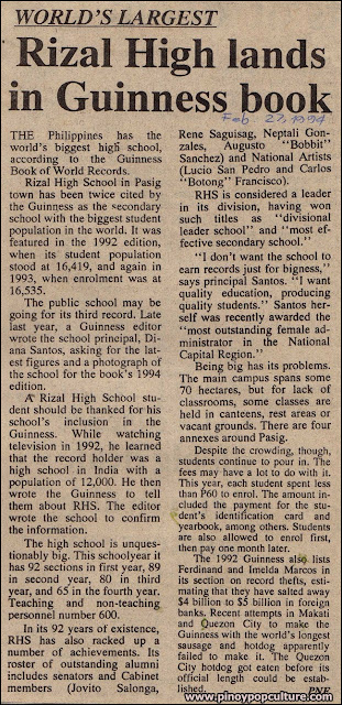 Rizal High School, Guinness Book of World Records