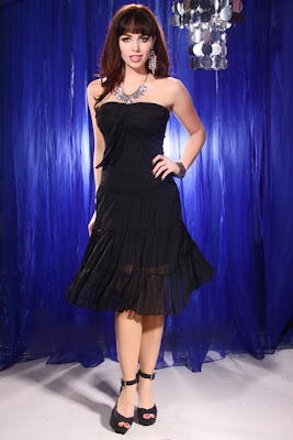 BLACK STRAPLESS RUFFLE DRAPED FRONT TIER SEXY DRESS