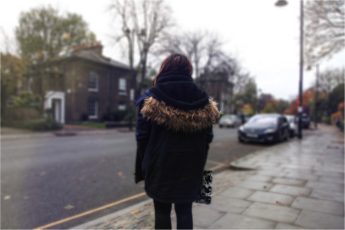 epique wears asos dark blue jacket with fur hood and patent leather details