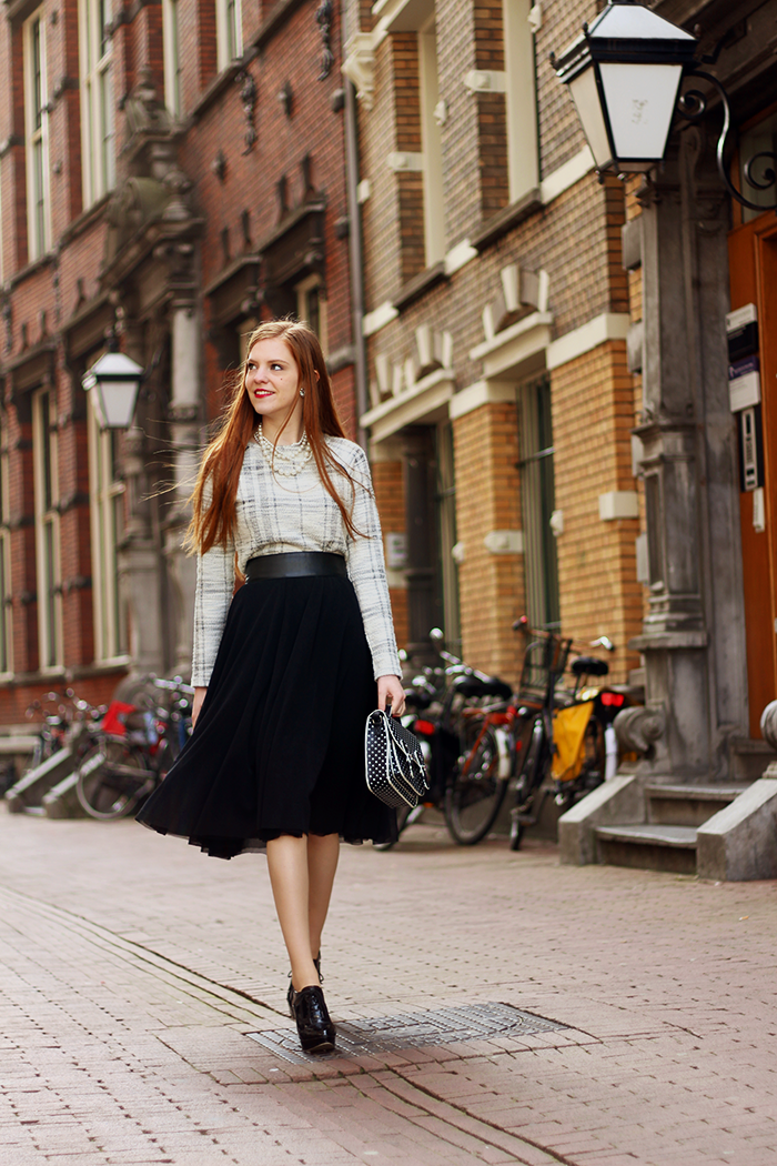Fashion Blogger Vintage 50s style Outfit Checks polka dots Amsterdam Dutch